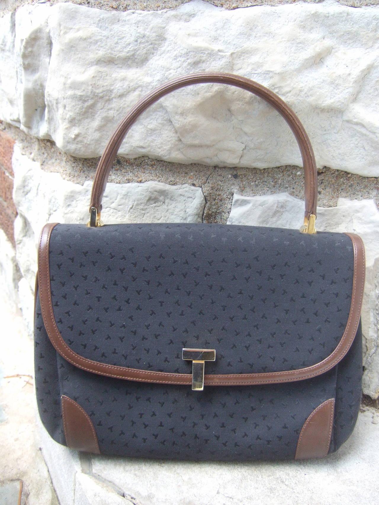 Tiffany & Company Black Canvas Handbag Made in Italy c 1980 For Sale 2