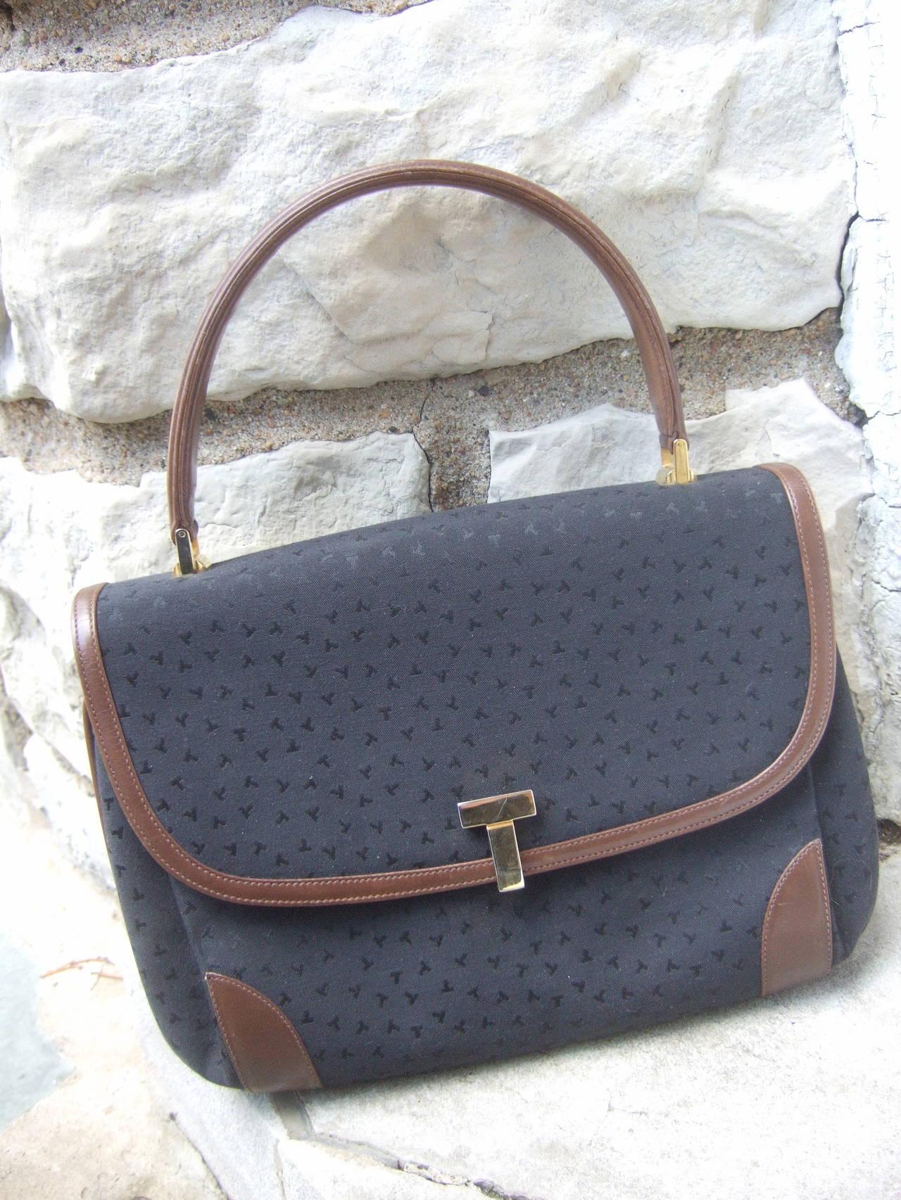 Tiffany & Company Black Canvas Handbag Made in Italy c 1980 In Good Condition For Sale In Santa Barbara, CA
