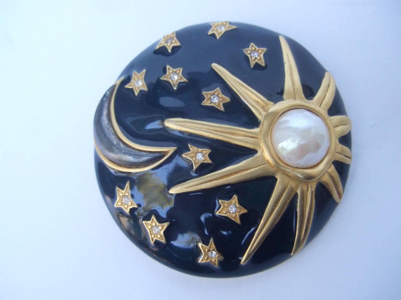 Karl Lagerfeld Jeweled Enamel Sun, Moon & Star Brooch 3
