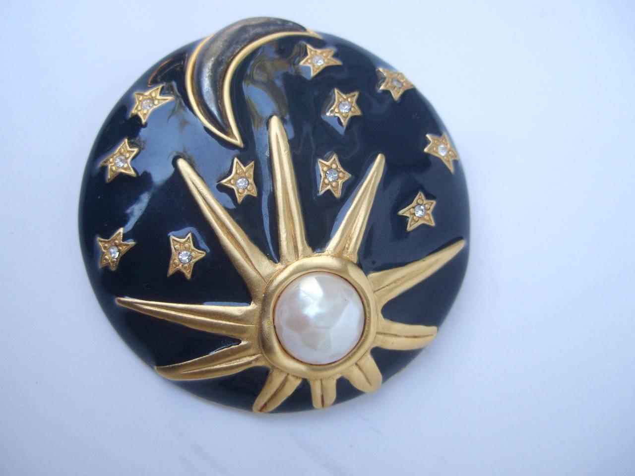 Karl Lagerfeld Jeweled Enamel Sun, Moon & Star Brooch 2