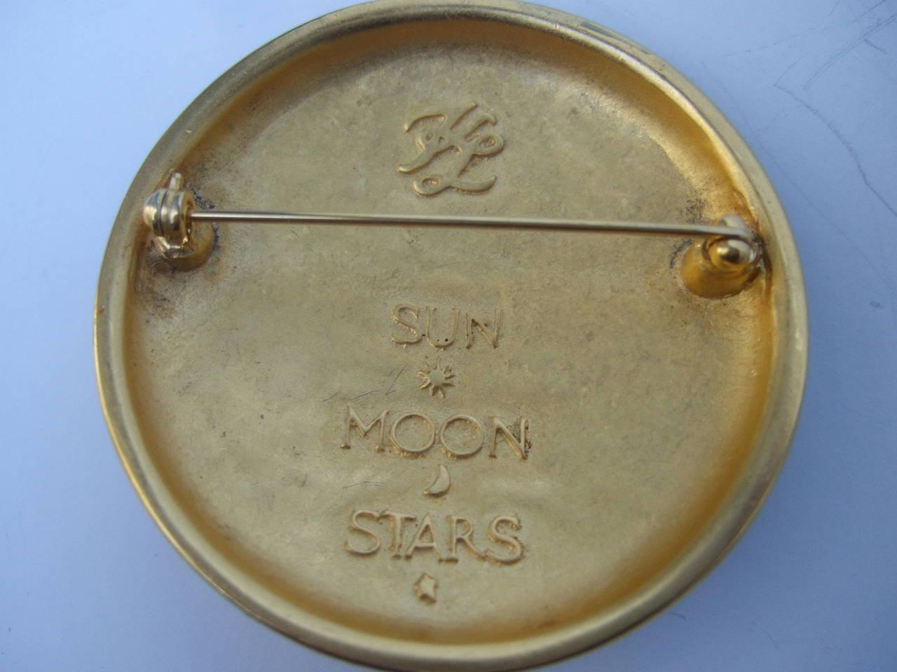 Karl Lagerfeld Jeweled Enamel Sun, Moon & Star Brooch 4