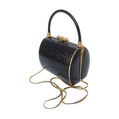 Elegant Black Embossed Leather Handbag Designed by Finesse La Model