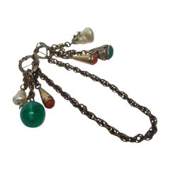 Adele Simpson Jeweled Glass Bauble Chatelaine Brooch c 1950