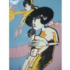 Remo Brindisi Avant Garde Silk Screen Print by listed Italian Artist