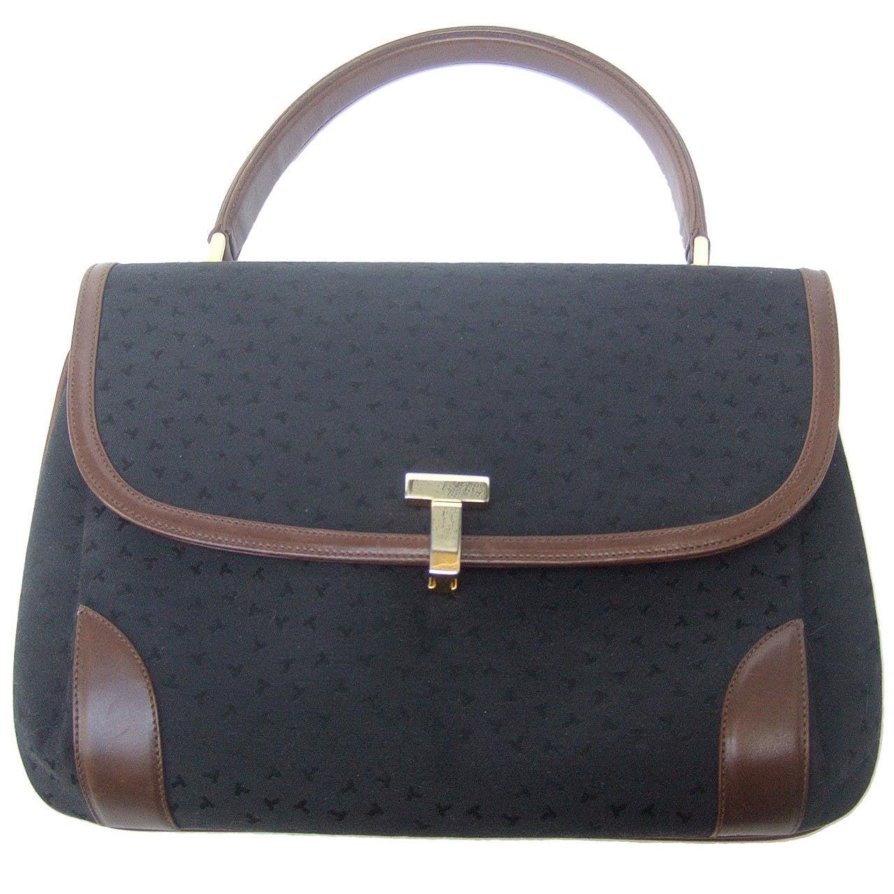 Tiffany & Company Black Canvas Handbag Made in Italy c 1980 For Sale