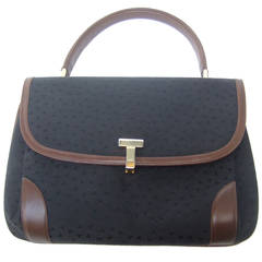 Tiffany & Co. Tiffany & Company Black Canvas Handbag Made In Italy C 1980