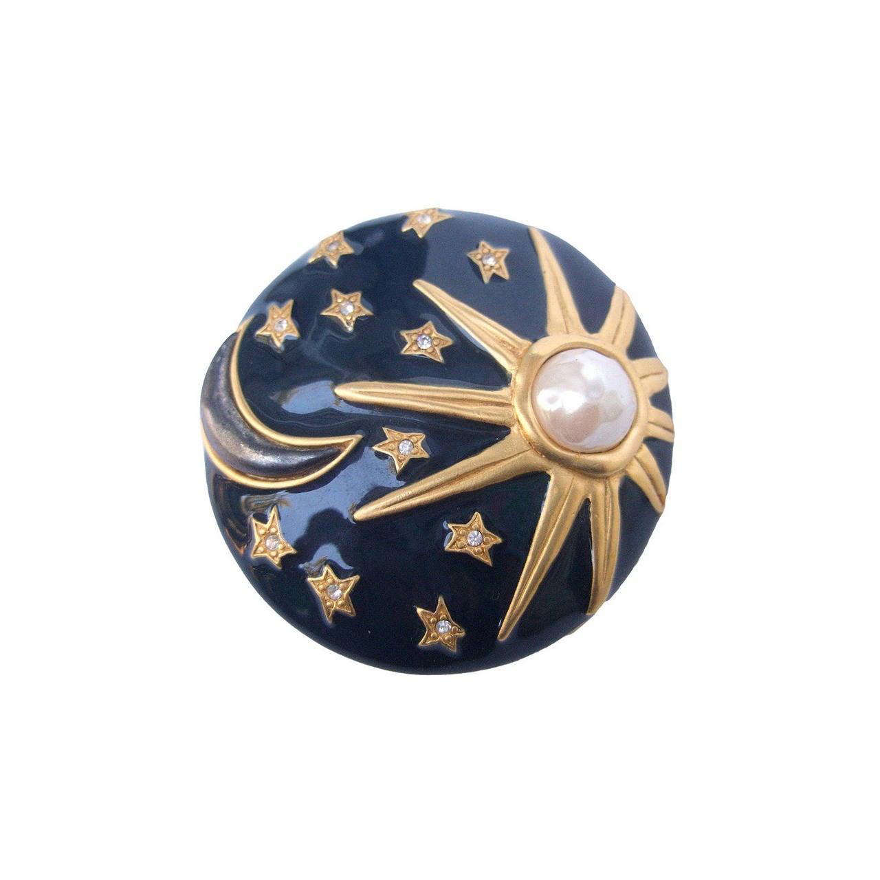 Karl Lagerfeld Jeweled Enamel Sun, Moon & Star Brooch 1