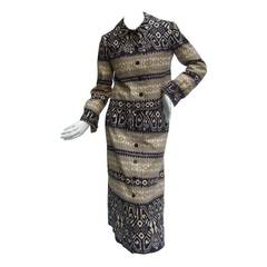 Lanvin Chic Cotton Print Skirt Suit c 1970