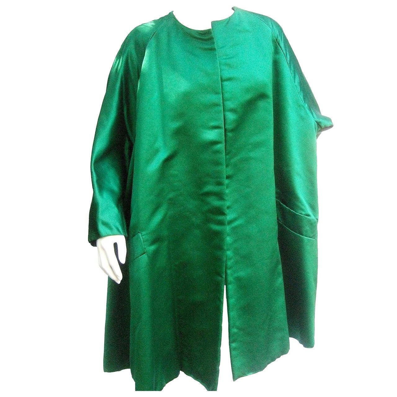 Neiman Marcus Emerald Green Duchess Satin Evening Coat c 1960
