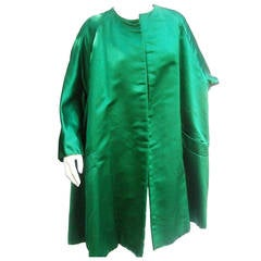 Neiman Marcus Emerald Green Duchess Satin Evening Coat c 1960