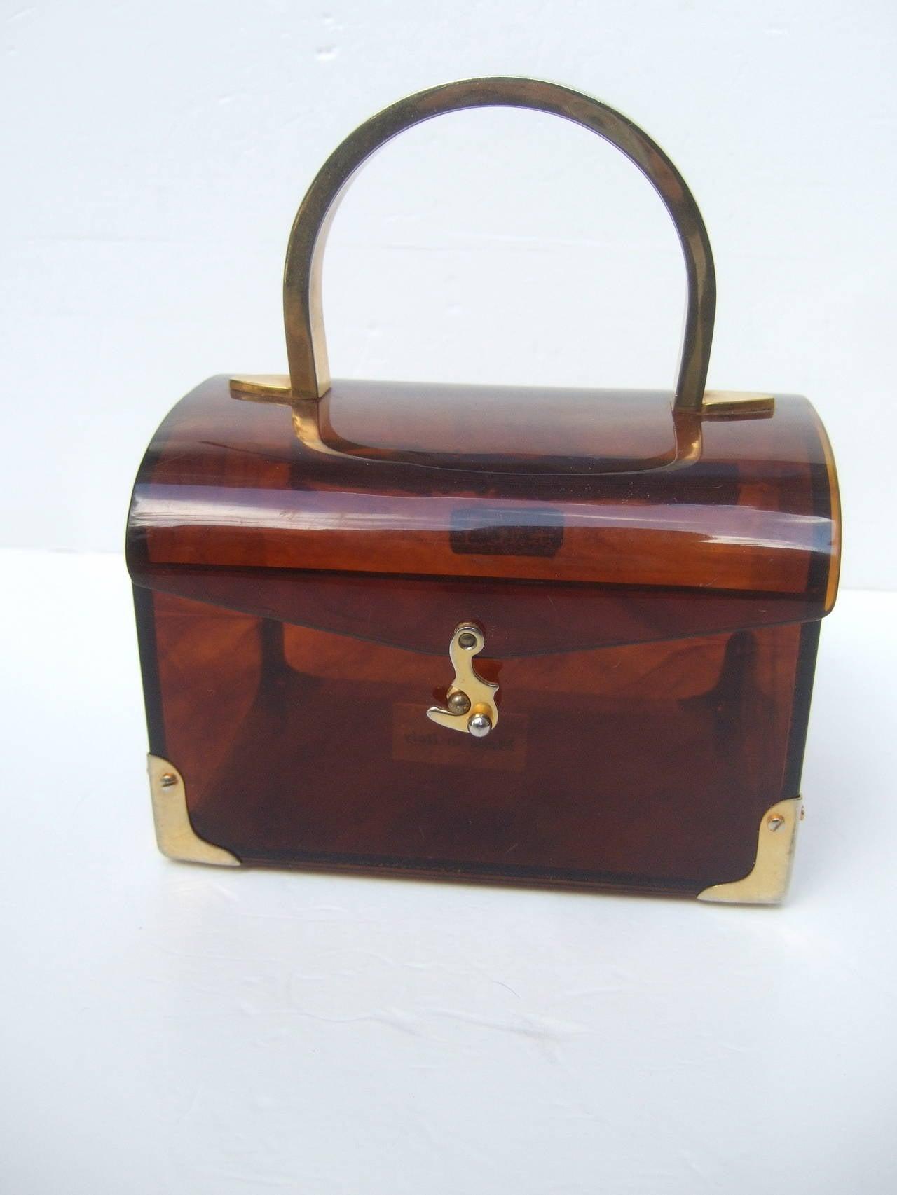 Stylish Lucite Tortoise Shell Handbag Made In Italy For