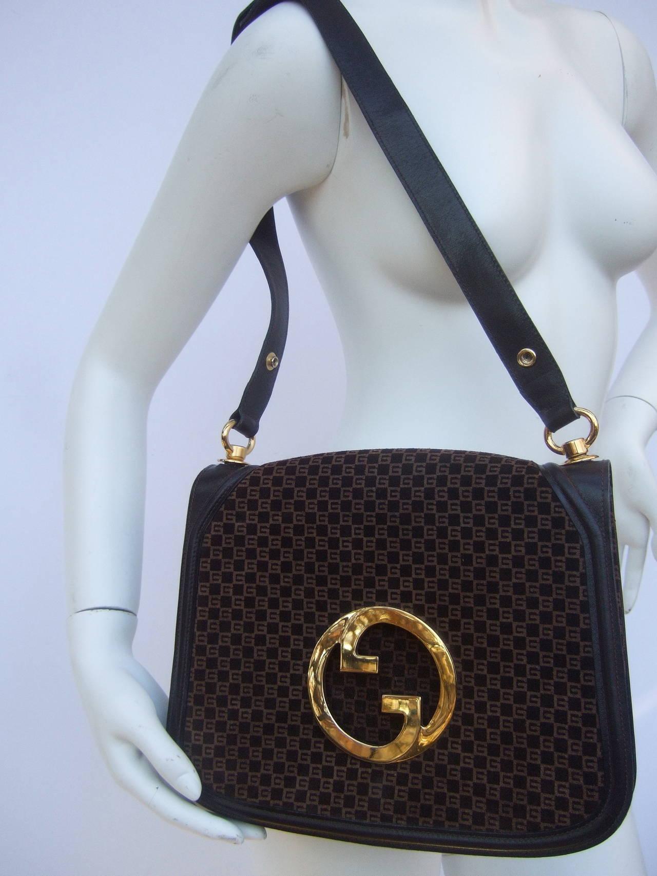 Gucci Brown Suede Blondie Shoulder Bag c 1970 2