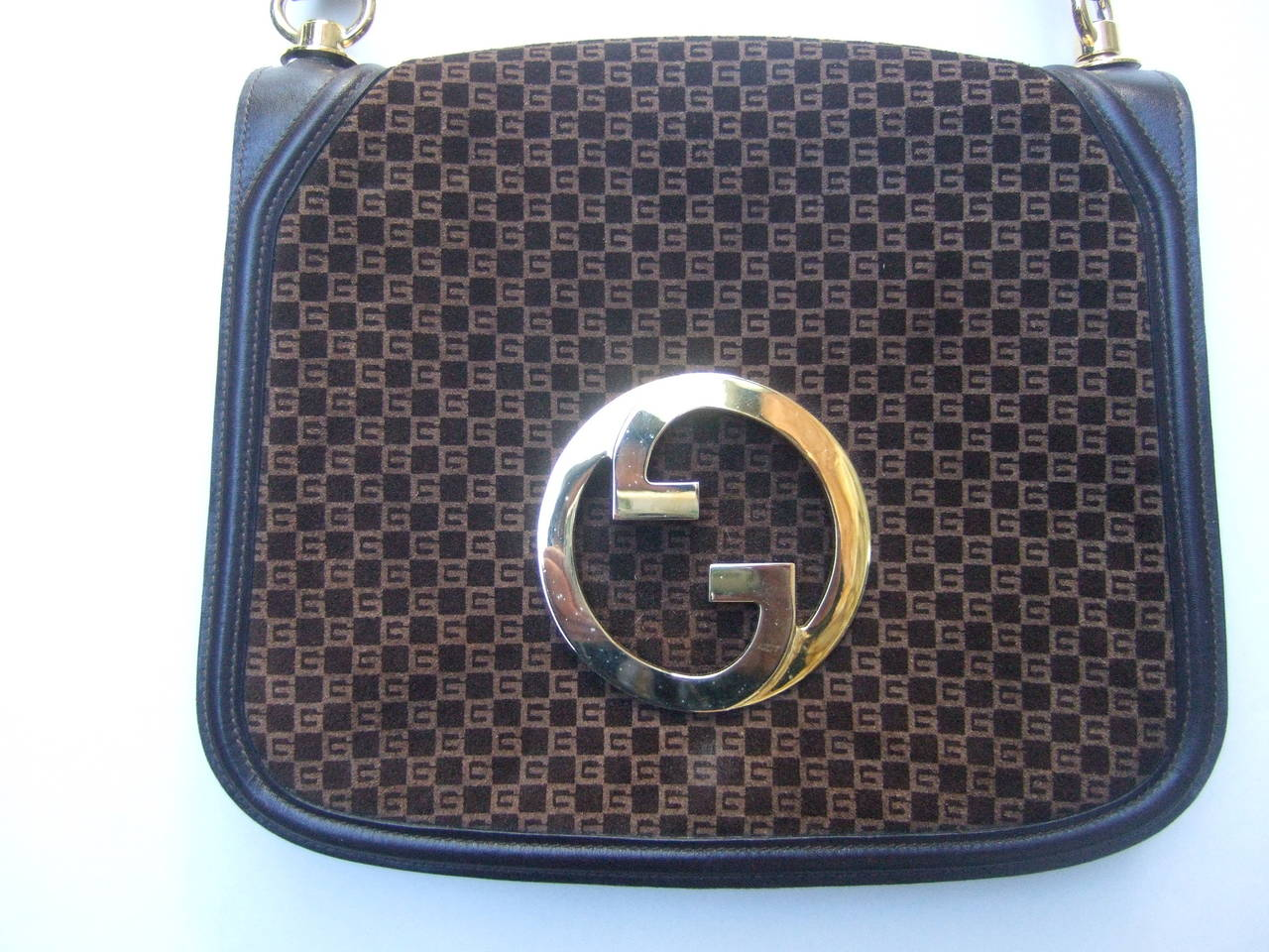 Gucci Brown Suede Blondie Shoulder Bag c 1970 4