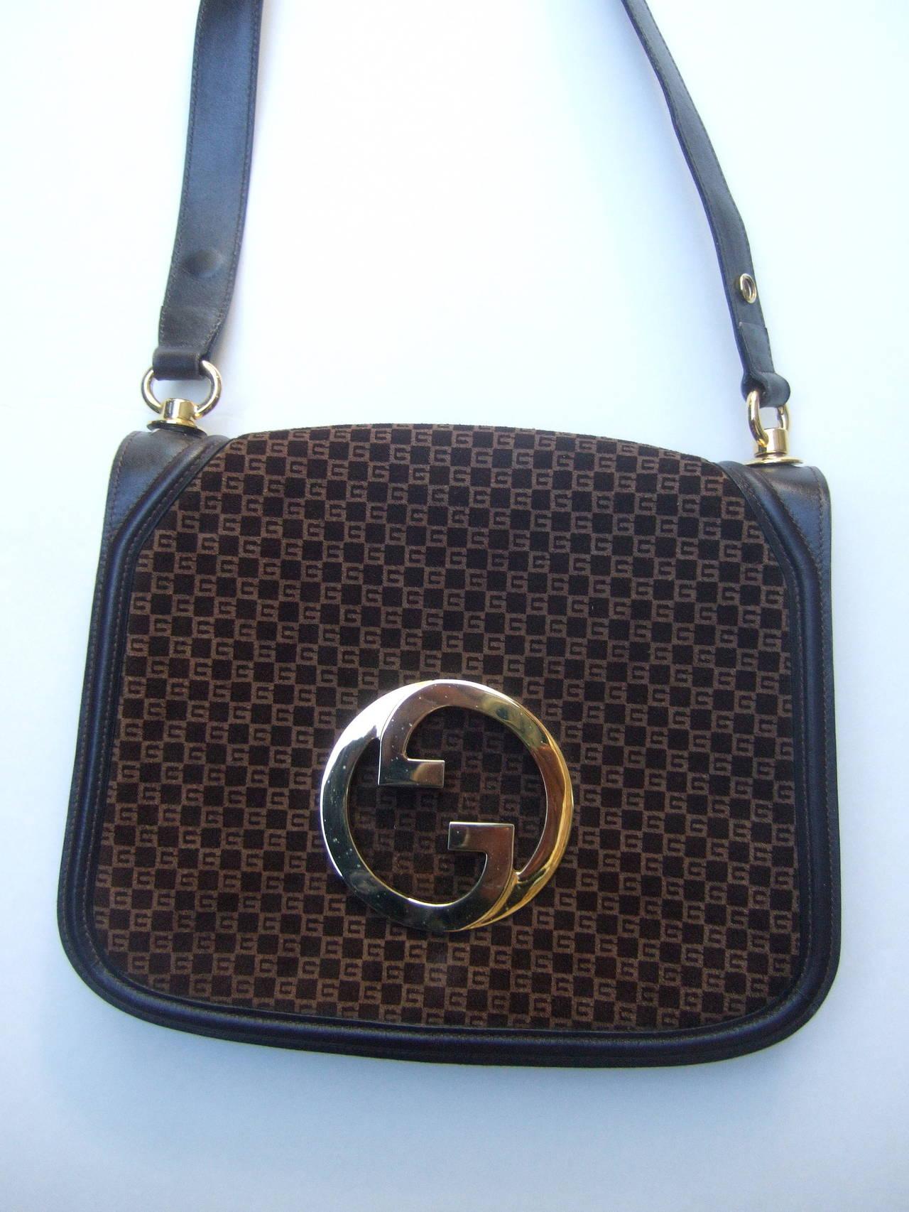 Gucci Brown Suede Blondie Shoulder Bag c 1970 8