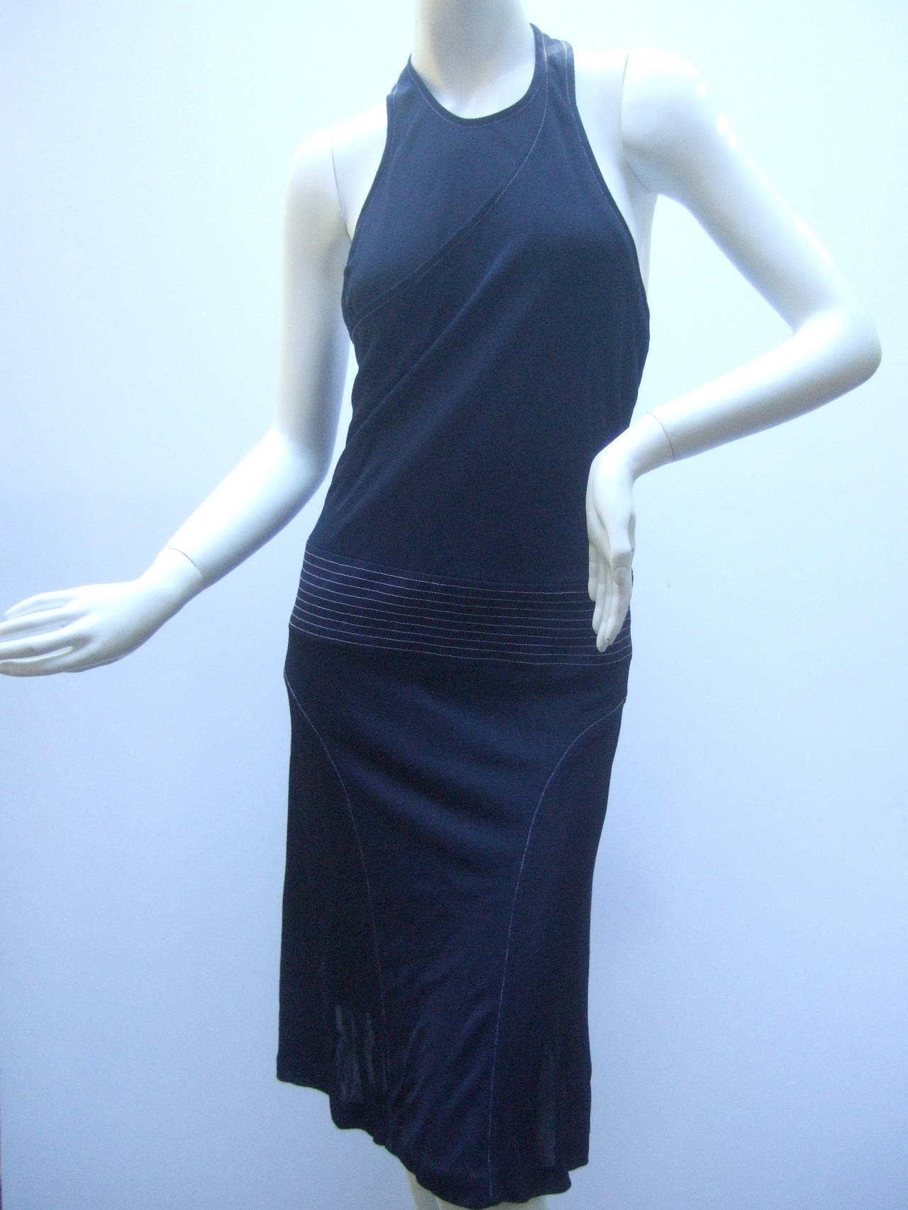 Chanel Sexy Midnight Blue Clingy Jersey Dress Size 38 In Good Condition In Santa Barbara, CA