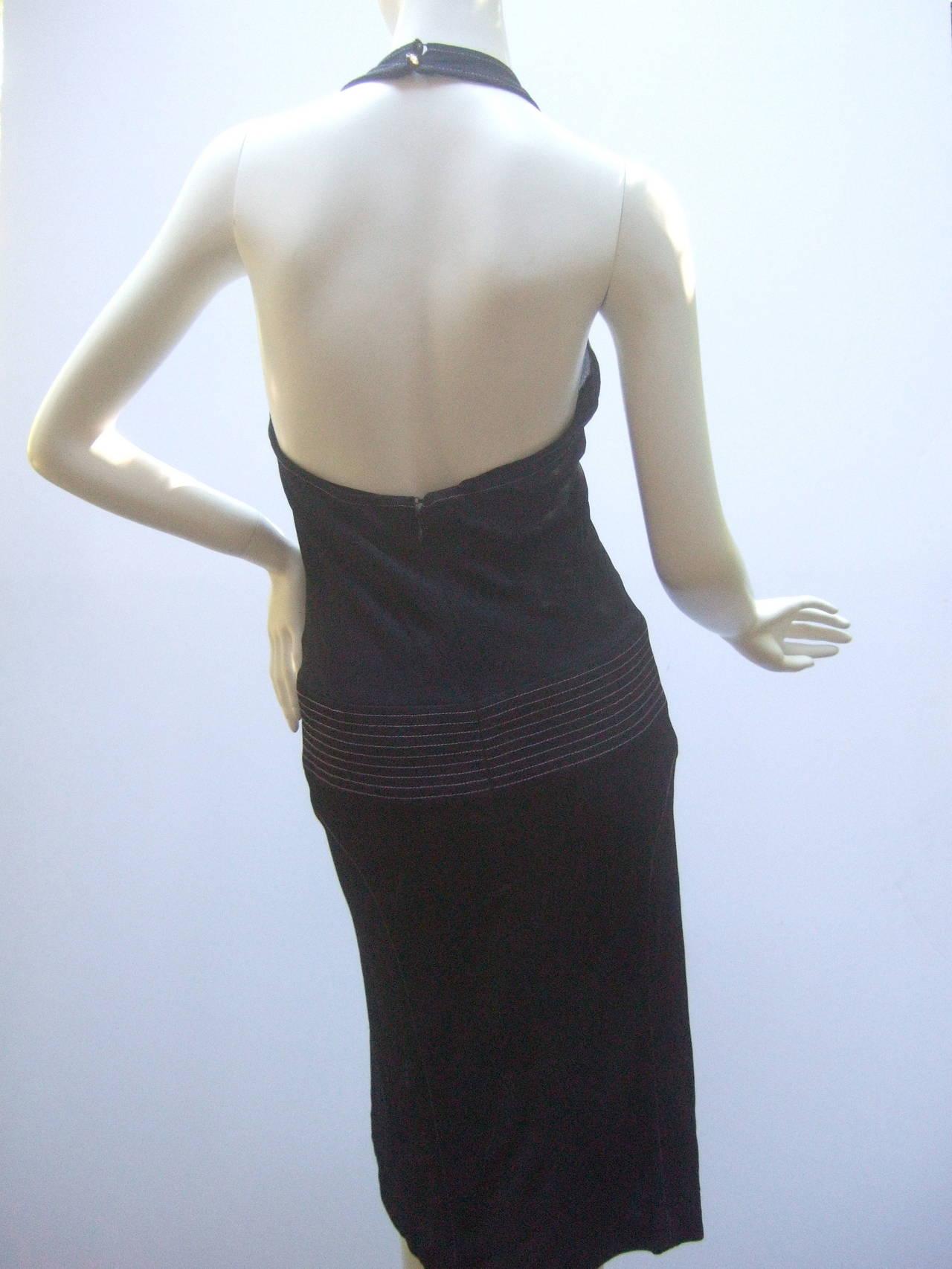 Black Chanel Sexy Midnight Blue Clingy Jersey Dress Size 38