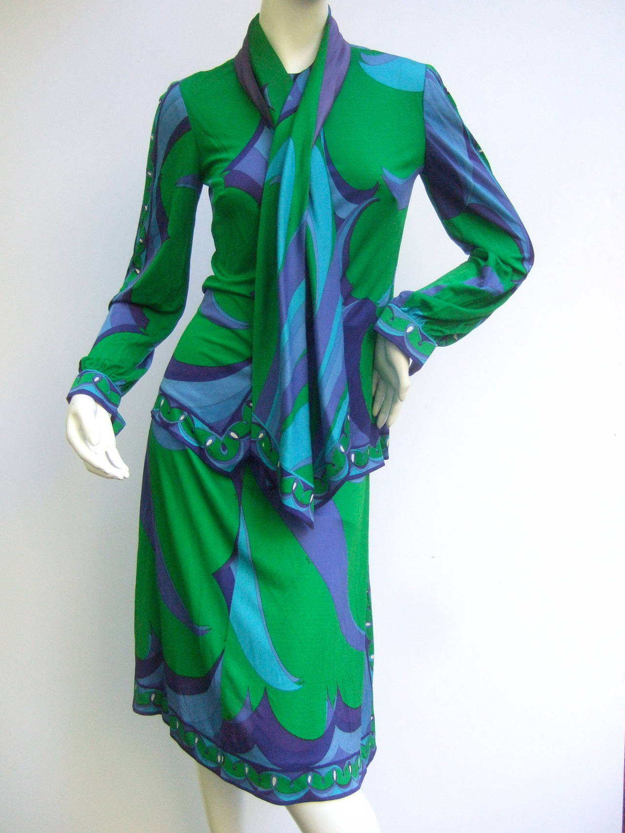 EMILIO PUCCI Silk Jersey Blend Blouse & Skirt Set c 1970 5