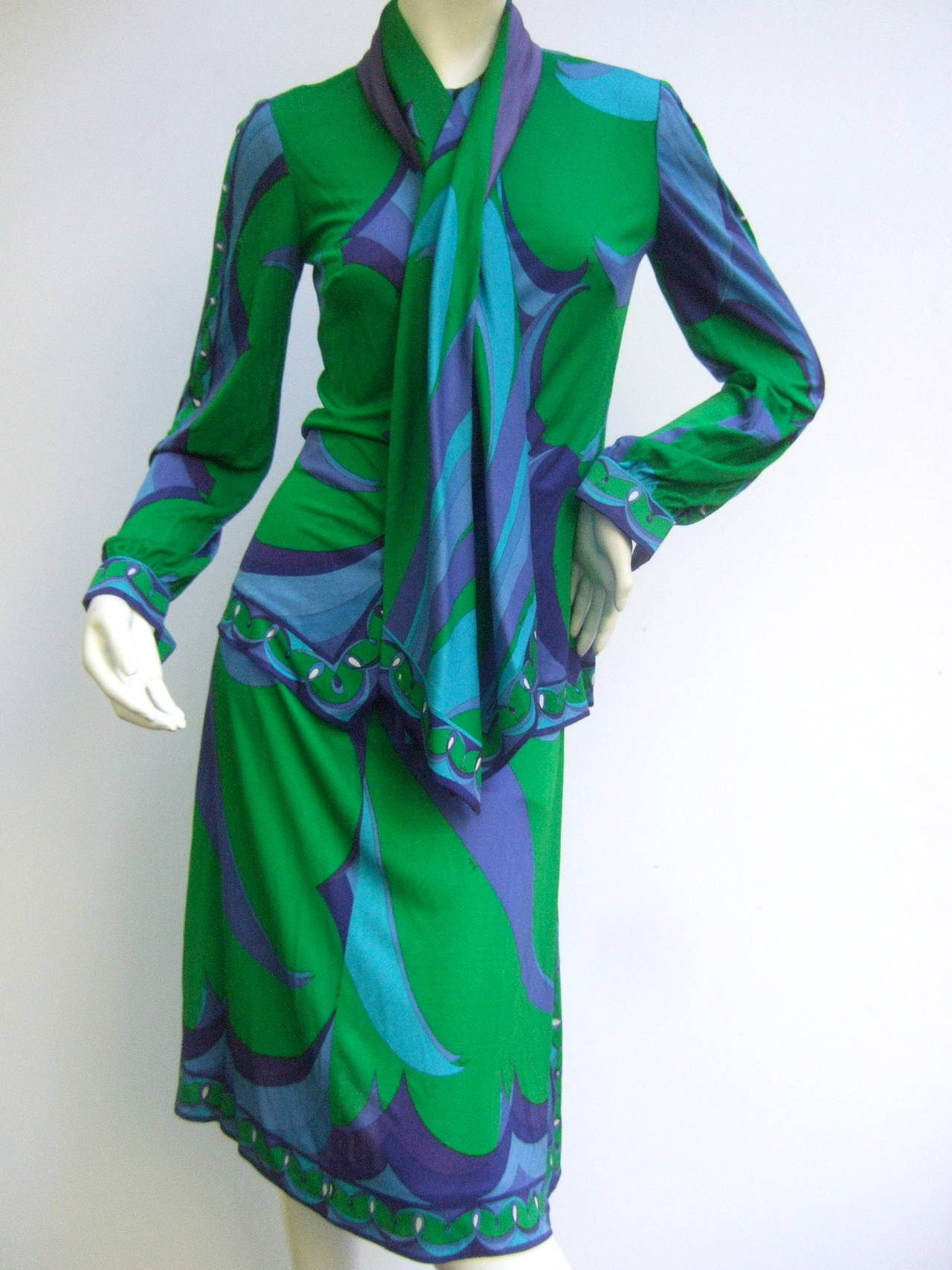 EMILIO PUCCI Silk Jersey Blend Blouse & Skirt Set c 1970 10