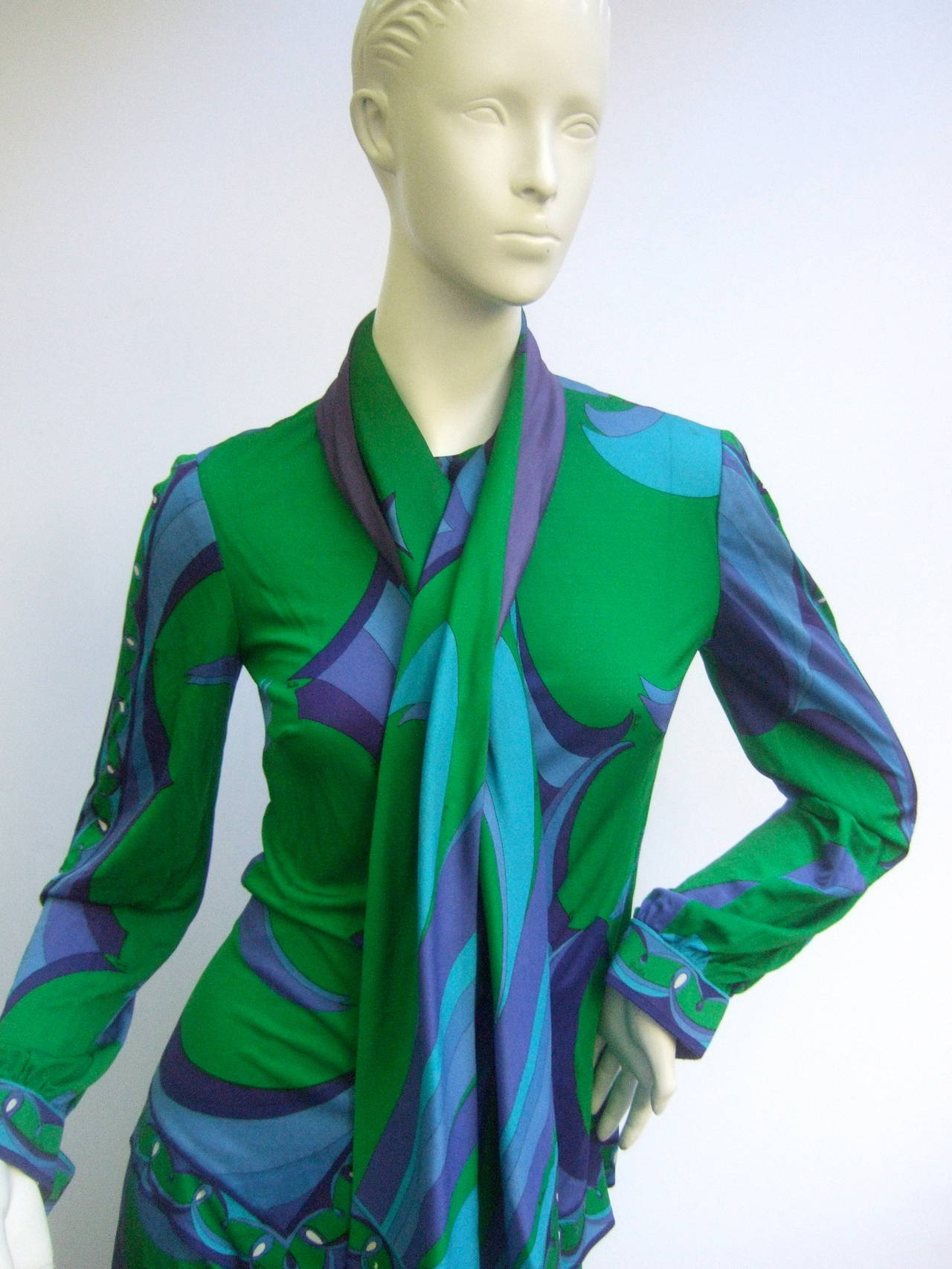 EMILIO PUCCI Silk Jersey Blend Blouse & Skirt Set c 1970 7