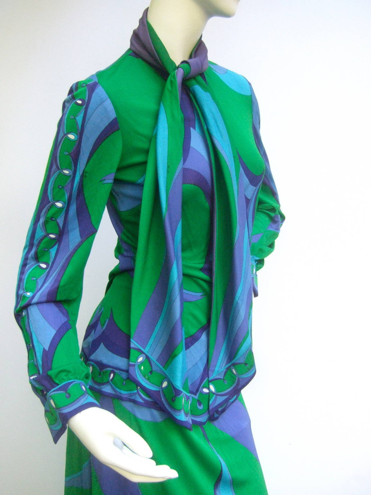 EMILIO PUCCI Silk Jersey Blend Blouse & Skirt Set c 1970 3