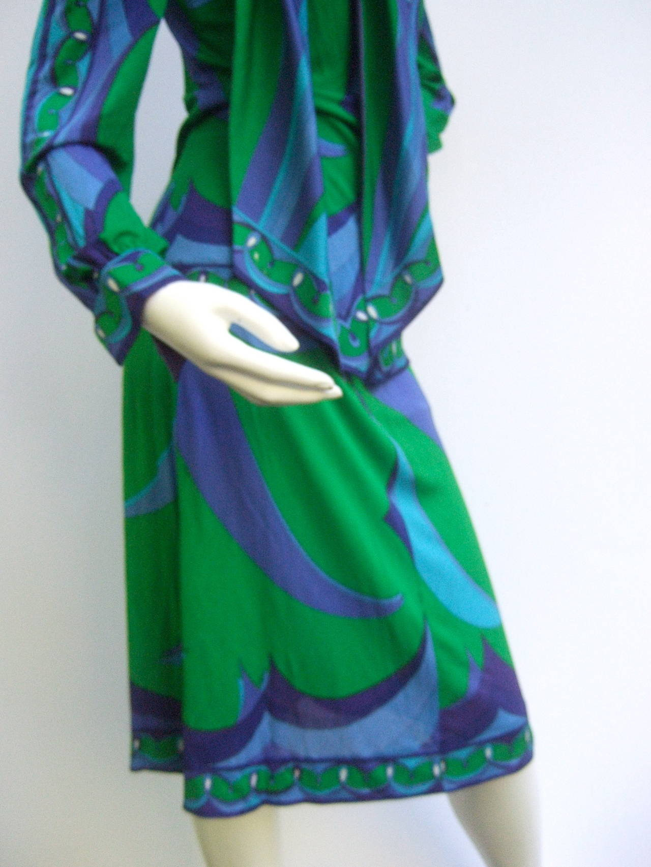 EMILIO PUCCI Silk Jersey Blend Blouse & Skirt Set c 1970 6