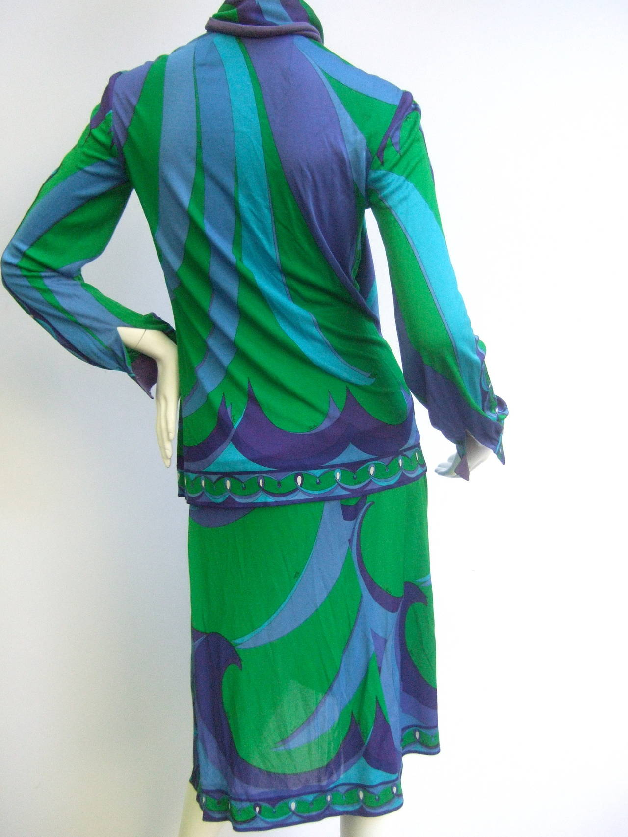 EMILIO PUCCI Silk Jersey Blend Blouse & Skirt Set c 1970 8