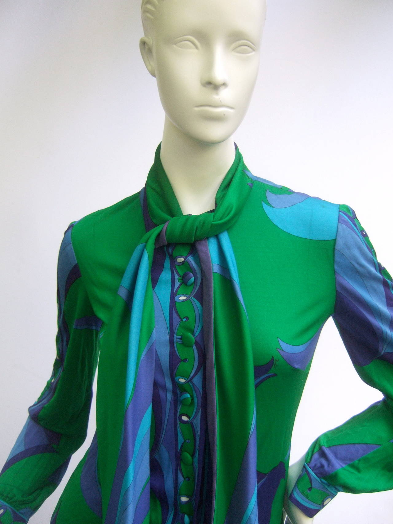 EMILIO PUCCI Silk Jersey Blend Blouse & Skirt Set c 1970 2