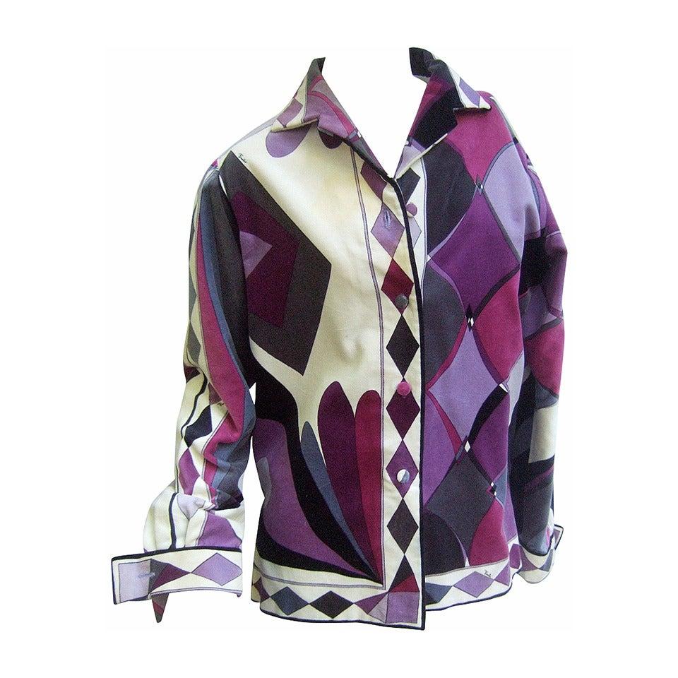 Emilio Pucci Pastel Velvet Op Art Jacket