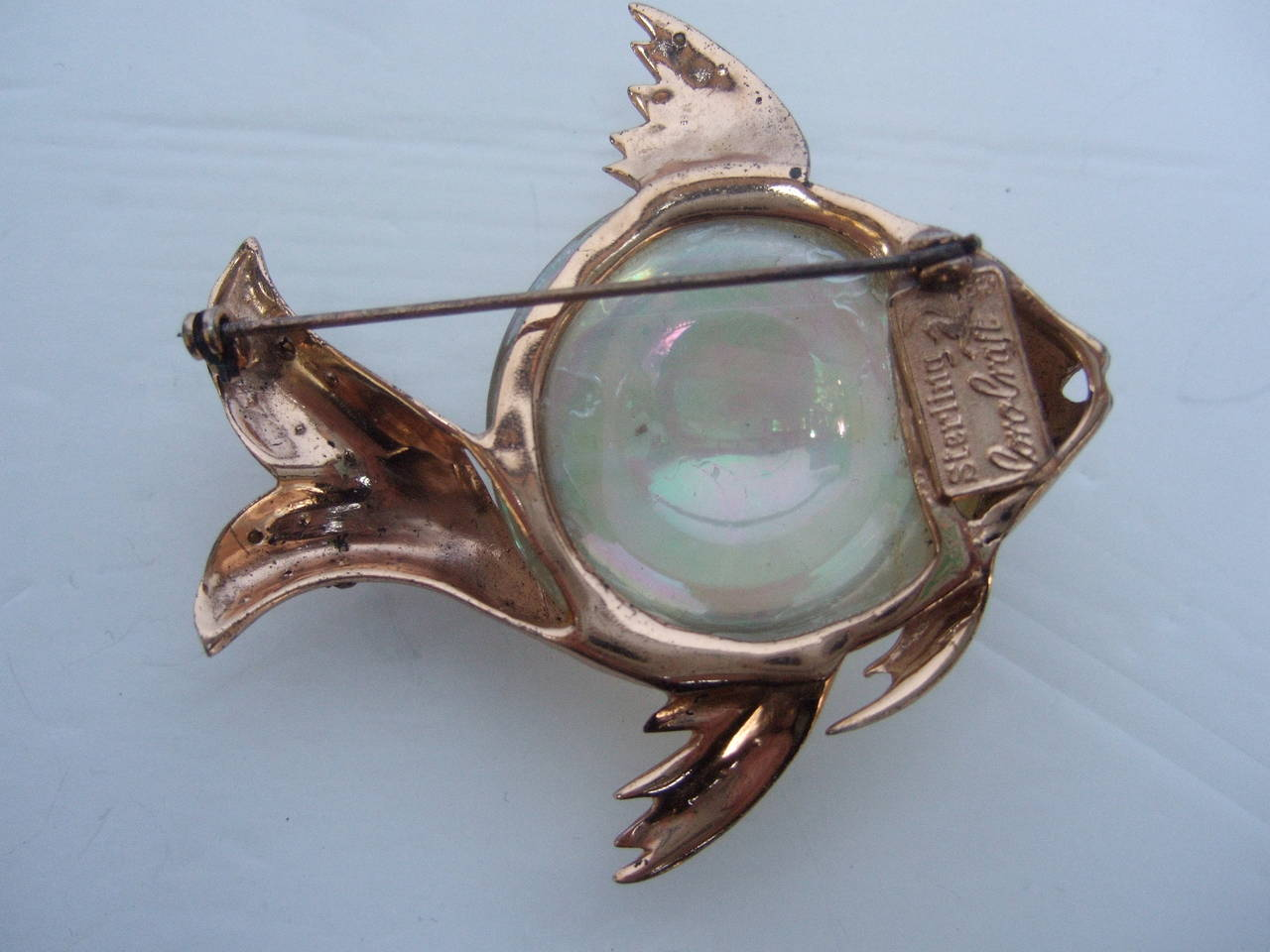 Coro Sterling Jelly Belly Massive Fish Brooch c 1950 5