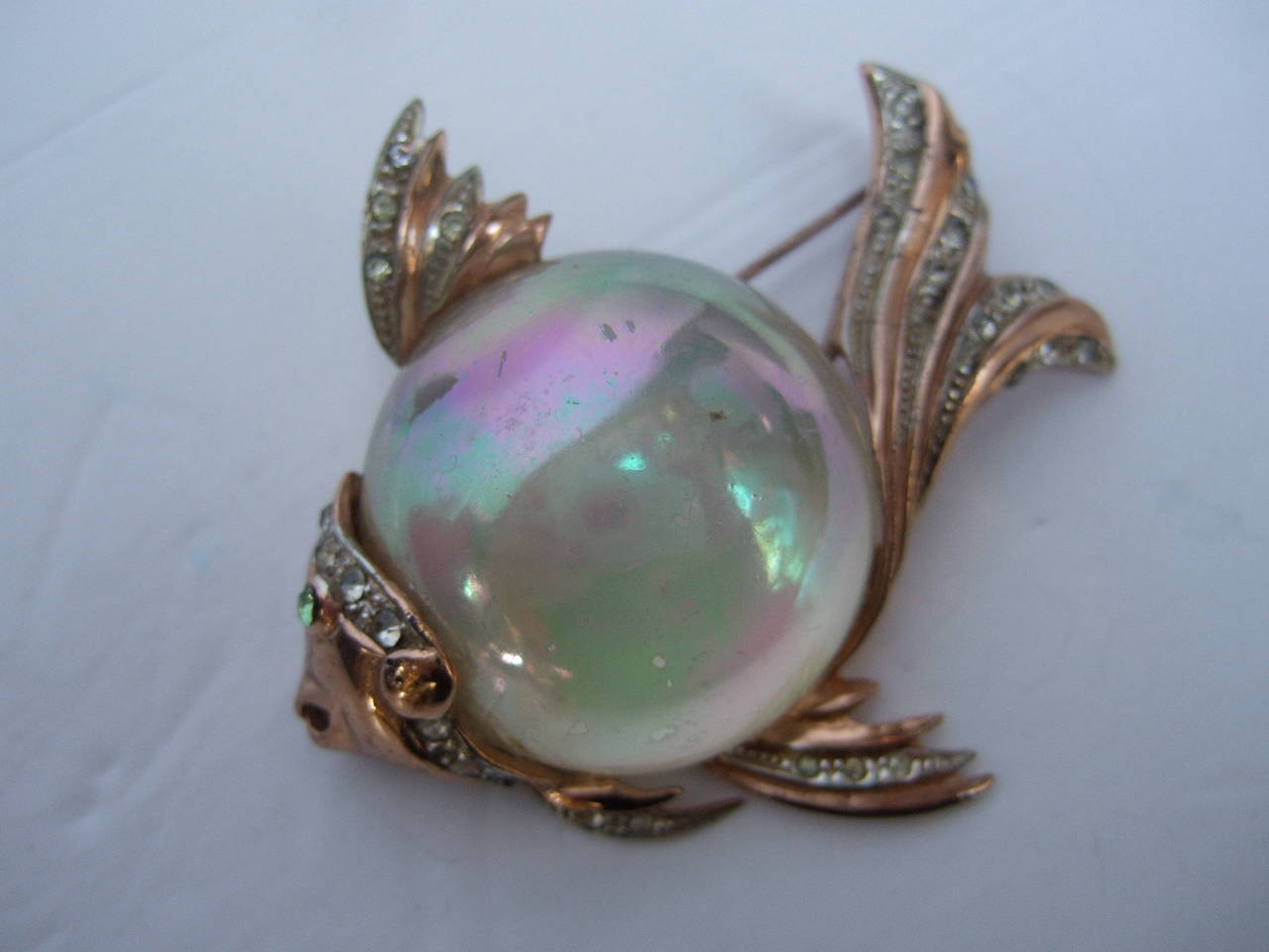 Coro Sterling Jelly Belly Massive Fish Brooch c 1950 2