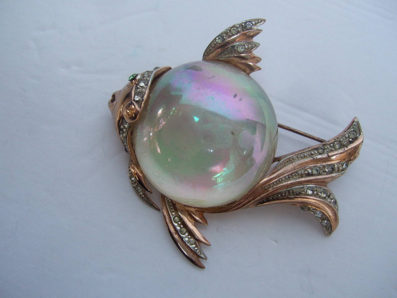 Coro Sterling Jelly Belly Massive Fish Brooch c 1950 3