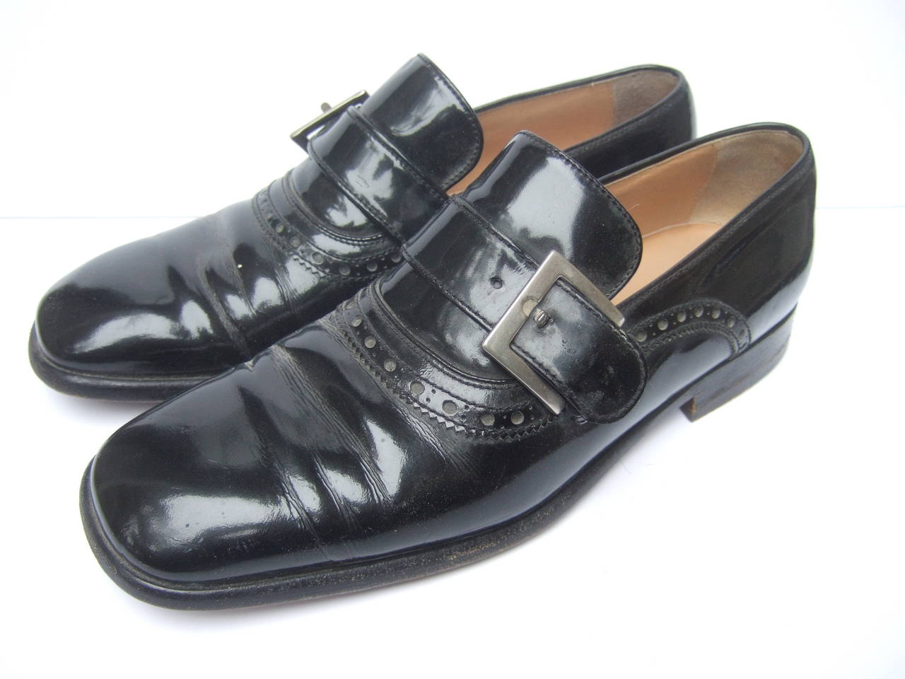 dolce and gabbana s black patent leather shoes us size