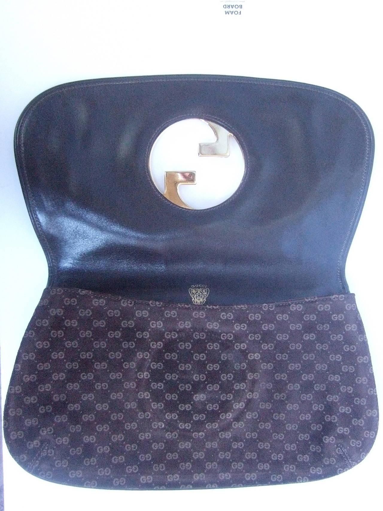 Gucci Sleek Brown Suede Blondie Clutch Made In Italy C
