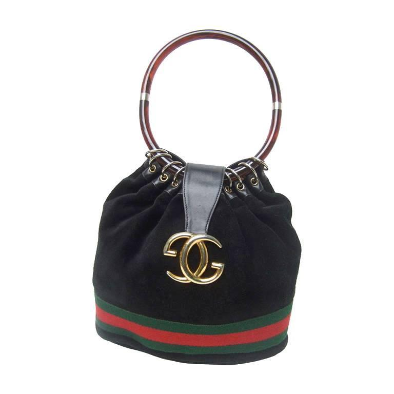 Luxurious Black Suede Gucci Bag With Lucite Handle. 1970's. For Sale