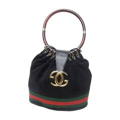 Luxurious Black Suede Gucci Bag With Lucite Handle. 1970's.