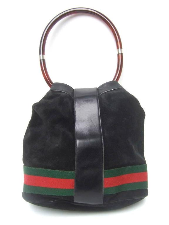 Luxurious Black Suede Gucci Bag With Lucite Handle. 1970's. In Good Condition For Sale In Santa Barbara, CA