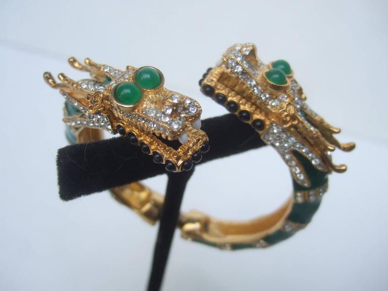 Ken Lane Exotic Jeweled Enamel Dragon Bracelet. For Sale 2