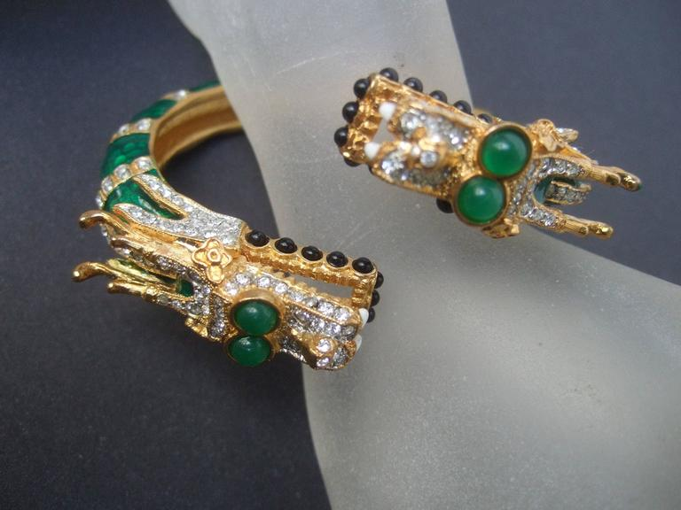 Ken Lane Exotic Jeweled Enamel Dragon Bracelet. 8