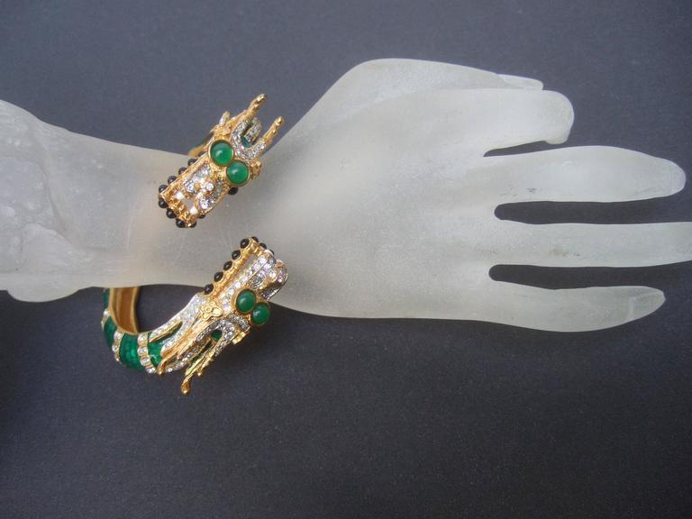 Ken Lane Exotic Jeweled Enamel Dragon Bracelet. For Sale 3