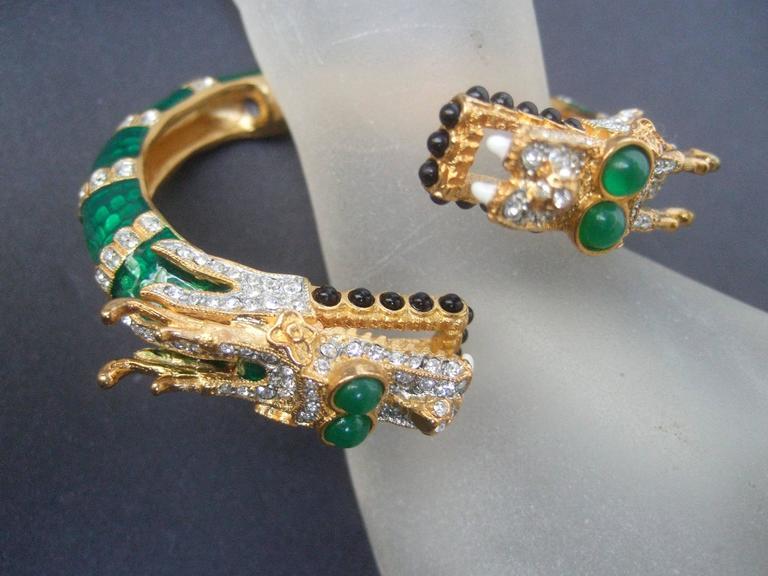 Ken Lane Exotic Jeweled Enamel Dragon Bracelet. 4