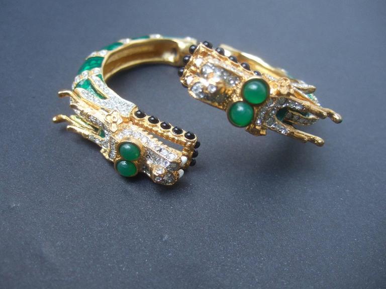 Ken Lane Exotic Jeweled Enamel Dragon Bracelet. 9