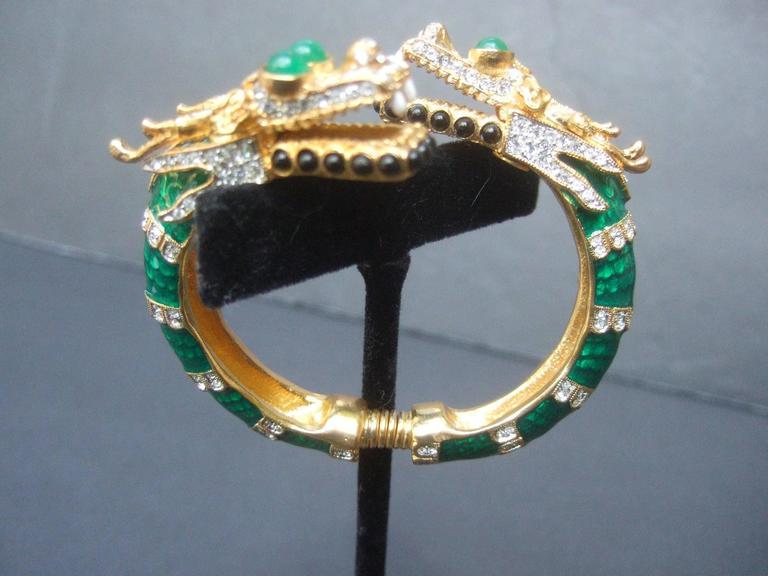 Ken Lane Exotic Jeweled Enamel Dragon Bracelet. For Sale 1