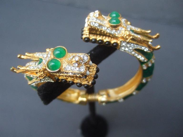 Ken Lane Exotic Jeweled Enamel Dragon Bracelet. In Excellent Condition For Sale In Santa Barbara, CA