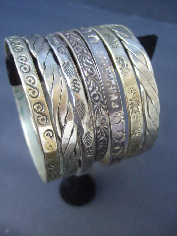 Wonderful group of Mexican sterling bangle bracelets 