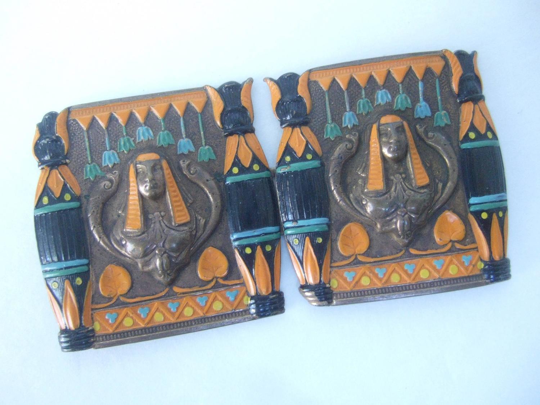 Egytian Revival Enamel Pharaoh Belt Buckles C 1950s For