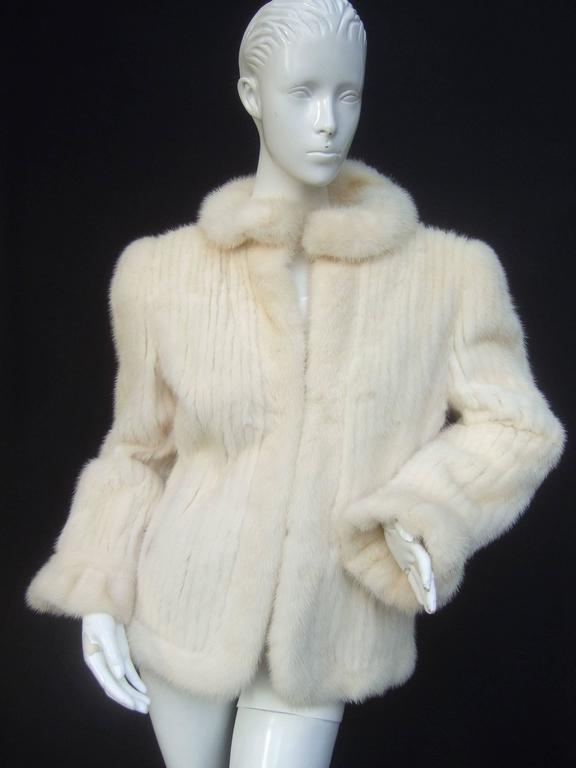 Beige Luxurious Ribbed Pearl Mink Fur Jacket c 1980 For Sale