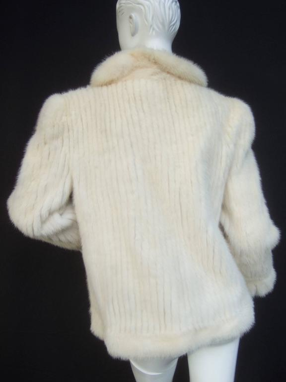 Women's Luxurious Ribbed Pearl Mink Fur Jacket c 1980 For Sale