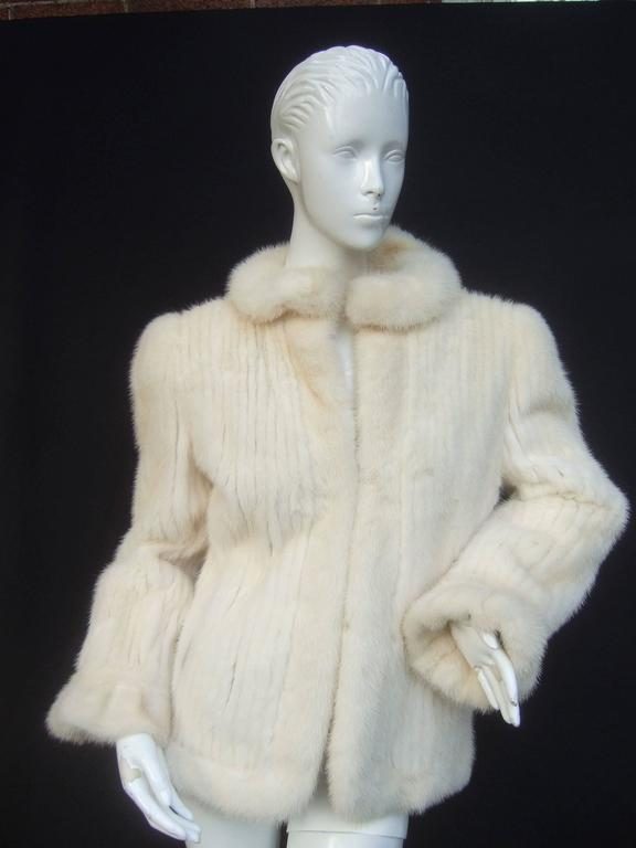 Luxurious Ribbed Pearl Mink Fur Jacket c 1980 For Sale 1