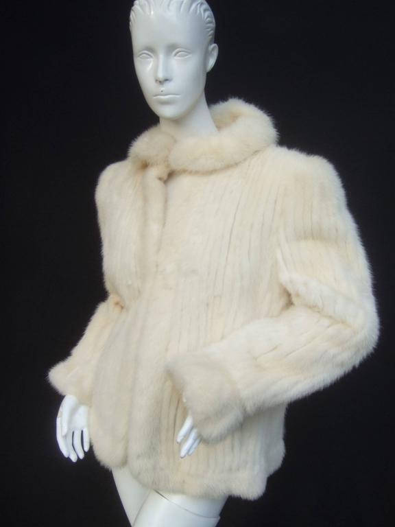 Luxurious Ribbed Pearl Mink Fur Jacket c 1980 9