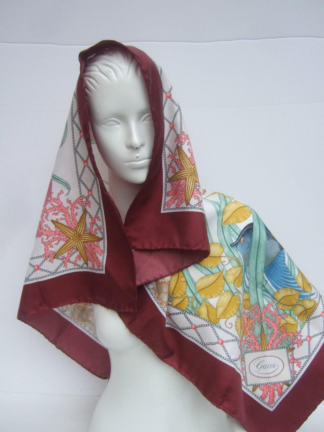 gucci italy luxurious large silk sea scarf for sale